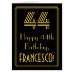 "[ Thumbnail: 44th Birthday: Art Deco Inspired Look ""44"" + Name Card ]"