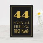 "[ Thumbnail: 44th Birthday – Art Deco Inspired Look ""44"" & Name Card ]"