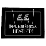"[ Thumbnail: 44th Birthday — Art Deco Inspired Look ""44"" & Name Gift Bag ]"