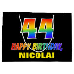 [ Thumbnail: 44th Birthday: Bold, Fun, Simple, Rainbow 44 Gift Bag ]