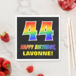 [ Thumbnail: 44th Birthday: Bold, Fun, Simple, Rainbow 44 Napkins ]