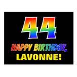 [ Thumbnail: 44th Birthday: Bold, Fun, Simple, Rainbow 44 Postcard ]