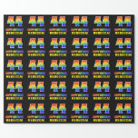 [ Thumbnail: 44th Birthday: Bold, Fun, Simple, Rainbow 44 Wrapping Paper ]
