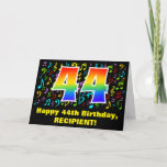 [ Thumbnail: 44th Birthday: Colorful Music Symbols & Rainbow 44 Card ]