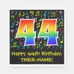 [ Thumbnail: 44th Birthday - Colorful Music Symbols, Rainbow 44 Napkins ]
