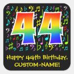 [ Thumbnail: 44th Birthday: Colorful Music Symbols, Rainbow 44 Sticker ]