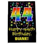 [ Thumbnail: 44th Birthday: Colorful Stars Pattern & Rainbow 44 Gift Bag ]