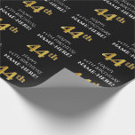 [ Thumbnail: 44th Birthday: Elegant, Black, Faux Gold Look Wrapping Paper ]