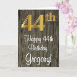 [ Thumbnail: 44th Birthday: Elegant Faux Gold Look #, Faux Wood Card ]