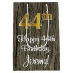 [ Thumbnail: 44th Birthday: Elegant Faux Gold Look #, Faux Wood Gift Bag ]