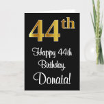 [ Thumbnail: 44th Birthday ~ Elegant Luxurious Faux Gold Look # Card ]