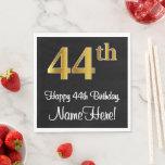 [ Thumbnail: 44th Birthday ~ Elegant Luxurious Faux Gold Look # Napkins ]