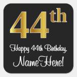 [ Thumbnail: 44th Birthday – Elegant Luxurious Faux Gold Look # Sticker ]
