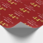 [ Thumbnail: 44th Birthday: Elegant, Red, Faux Gold Look Wrapping Paper ]