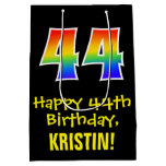 "[ Thumbnail: 44th Birthday: Fun, Bold, Colorful, Rainbow ""44"" Gift Bag ]"