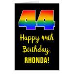 [ Thumbnail: 44th Birthday: Fun, Colorful, Happy, Rainbow # 44 Card ]