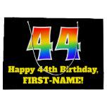 [ Thumbnail: 44th Birthday ~ Fun, Colorful, Vibrant, Rainbow 44 Gift Bag ]