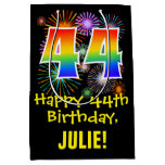 [ Thumbnail: 44th Birthday: Fun Fireworks Pattern + Rainbow 44 Gift Bag ]