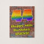 [ Thumbnail: 44th Birthday: Fun Graffiti-Inspired Rainbow 44 Jigsaw Puzzle ]