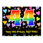 [ Thumbnail: 44th Birthday: Fun Hearts Pattern, Rainbow 44 Postcard ]