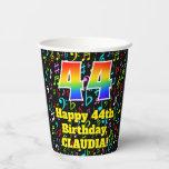[ Thumbnail: 44th Birthday: Fun Music Notes Pattern, Rainbow 44 ]