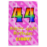 [ Thumbnail: 44th Birthday: Fun Pink Hearts Stripes; Rainbow 44 Gift Bag ]