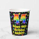 [ Thumbnail: 44th Birthday: Fun Stars Pattern and Rainbow 44 ]