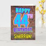 [ Thumbnail: 44th Birthday - Fun, Urban Graffiti Inspired Look Card ]