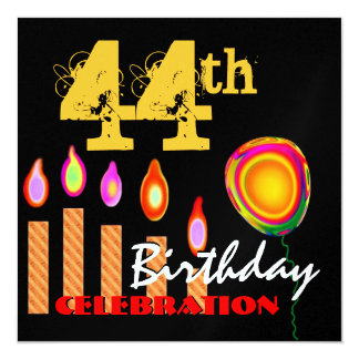 44th Birthday Gold Candles and Balloon Metallic Card