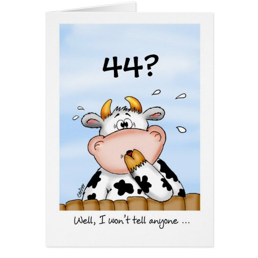 44th Birthday Humorous Card With Surprised Cow Zazzle Happy 44 Birthday Wishes