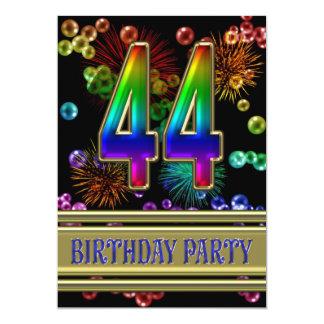 "44th Birthday party Invitation with bubbles 5"" X 7"" Invitation Card"