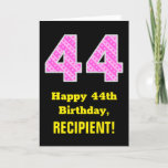 "[ Thumbnail: 44th Birthday: Pink Stripes and Hearts ""44"" + Name Card ]"