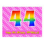 [ Thumbnail: 44th Birthday: Pink Stripes & Hearts, Rainbow 44 Postcard ]