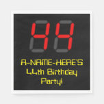"[ Thumbnail: 44th Birthday: Red Digital Clock Style ""44"" + Name Napkins ]"