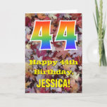 "[ Thumbnail: 44th Birthday; Rustic Autumn Leaves; Rainbow ""44"" Card ]"