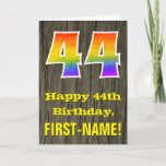 "[ Thumbnail: 44th Birthday: Rustic Faux Wood Look, Rainbow ""44"" Card ]"