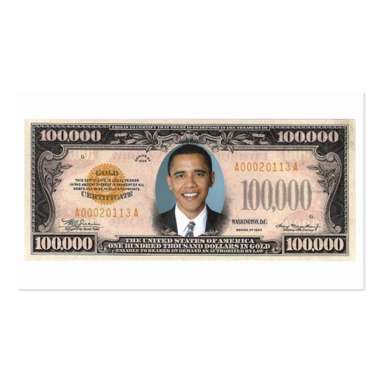 44TH President of the United States Barack Obama. Business Card