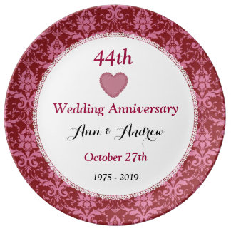 Wedding Gift For 44 Years : 44th Wedding Anniversary Ruby Red Damask W40E Porcelain Plates