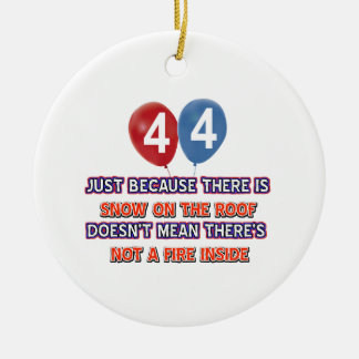 44th year old snow on the roof birthday designs christmas tree ornaments