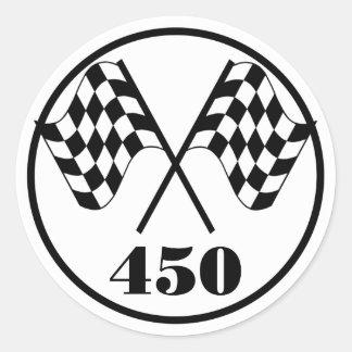 450 Checkered Flag Classic Round Sticker
