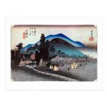 45. 石薬師宿, 広重 Ishiyakushi-juku, Hiroshige, Ukiyo-e Postales