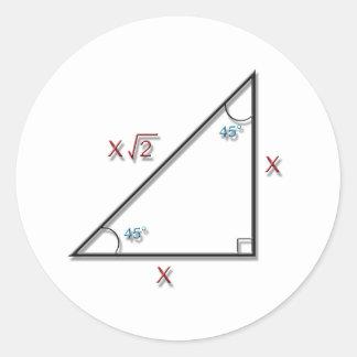 45-45-90 Triangle Round Stickers