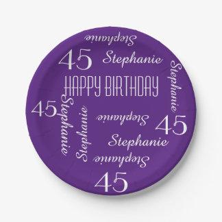 45.a fiesta de cumpleaños de la púrpura que repite plato de papel de 7 pulgadas