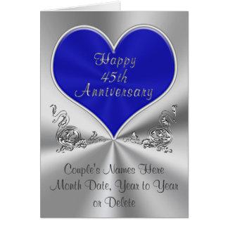 45.a tarjeta personalizada del aniversario de boda