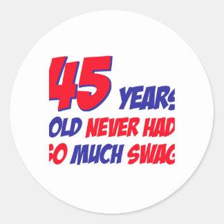 45 años divertidos de cumpleaños pegatina redonda