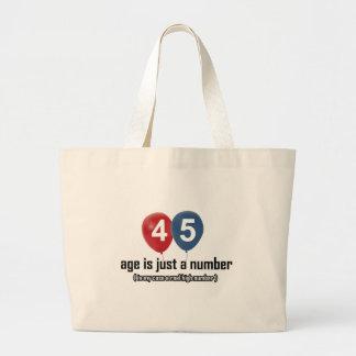 45 años nada pero un número diseñan bolsa tela grande