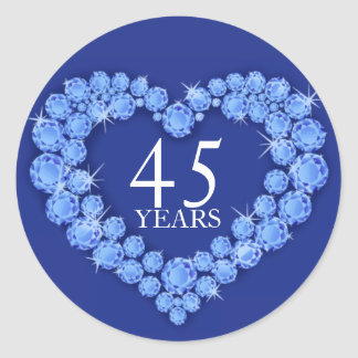 45 años pegatina azul y blanco de corazón del