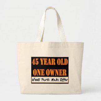 45 años que un dueño necesita piezas hacen el tote bolsa tela grande