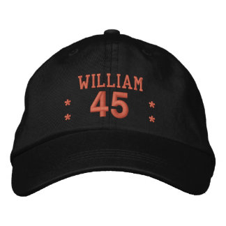 45 Birthday Custom Name CORAL Embroidery V65C Cap