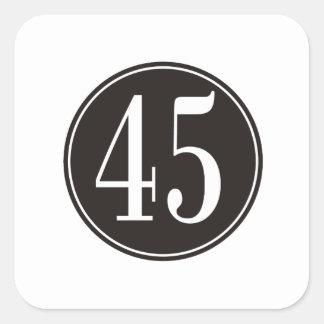 #45 Black Circle Square Sticker